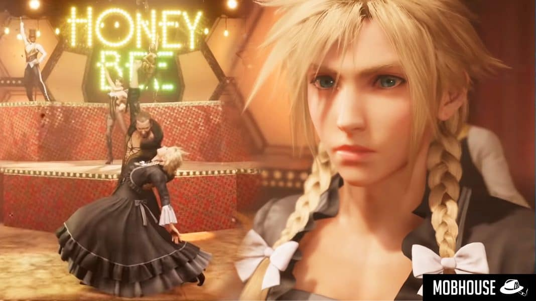 Final Fantasy 7 Remake Trailer shows Cloud in a dress and pigtails.